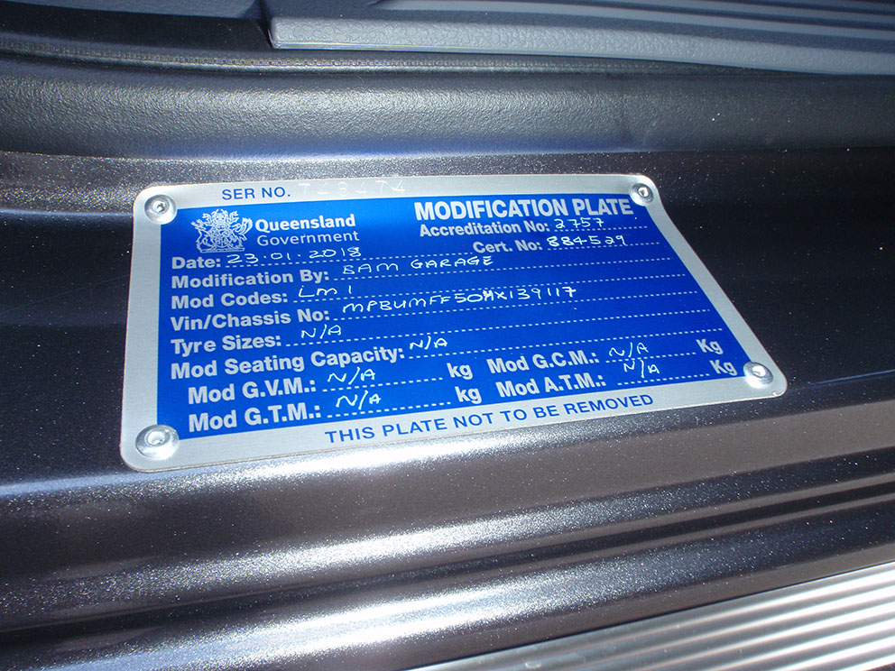Ford Ranger - QLD Modification plate Long Range Fuel Tank