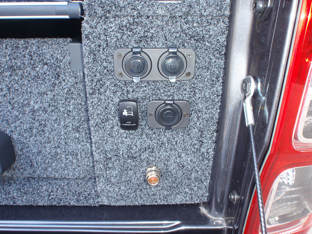 Ford Ranger power outlets flush mounted to drawer system