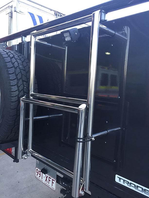 Landcruiser 79 stainless steel fold down ladder